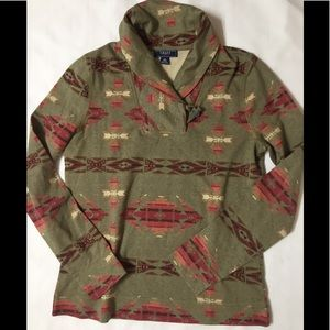 Chaps NWOT Small Aztec Pattern print top Pullover
